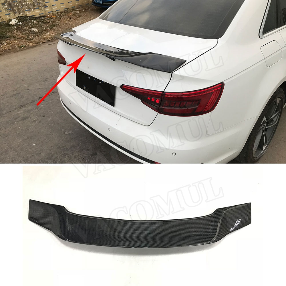 Carbon Fiber Car Rear Trunk Spoiler Wings for Audi A3 S3 Sedan 4 Door 2013-2018 R style carbon fiber car moulding decorative fins canards front sticker splitter for audi s3 sline sedan 4 door 13 16 not a3 standard page 8