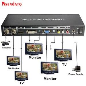 Convertidor de escalador HD 3G SDI a HDMI VGA DVI CVBS, convertidor extensor de divisor de vídeo SDI a R/L AV, convertidor con adaptador de corriente