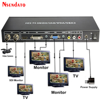 HD 3G SDI to HDMI VGA DVI CVBS ALL Scaler Converter SDI to R/L AV Video Siginal Splitter Extender Converter with Power Adaptor