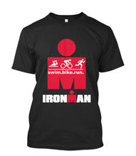 2017 Newest Funny  Tees Iron man Triathlon Finisher Cycle Runner Swimer Gymer Sportive Wear Mens T Shirt