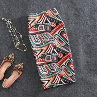 Micosoni New Spring/summer 2018 Abstract Print Printed Knee Length Offiice Lady Skirt of Buttock After Slit Slim Women's Skirts