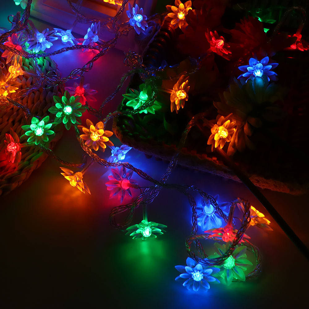 Fairy lights 5m Lotus LED Garland Christmas Lights String Light New Year Party Holiday Lighting Wedding Decor Luminaria Lamp