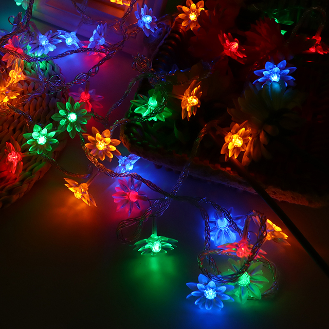 fairy lights 5m lotus led garland christmas lights string light new year party holiday lighting wedding