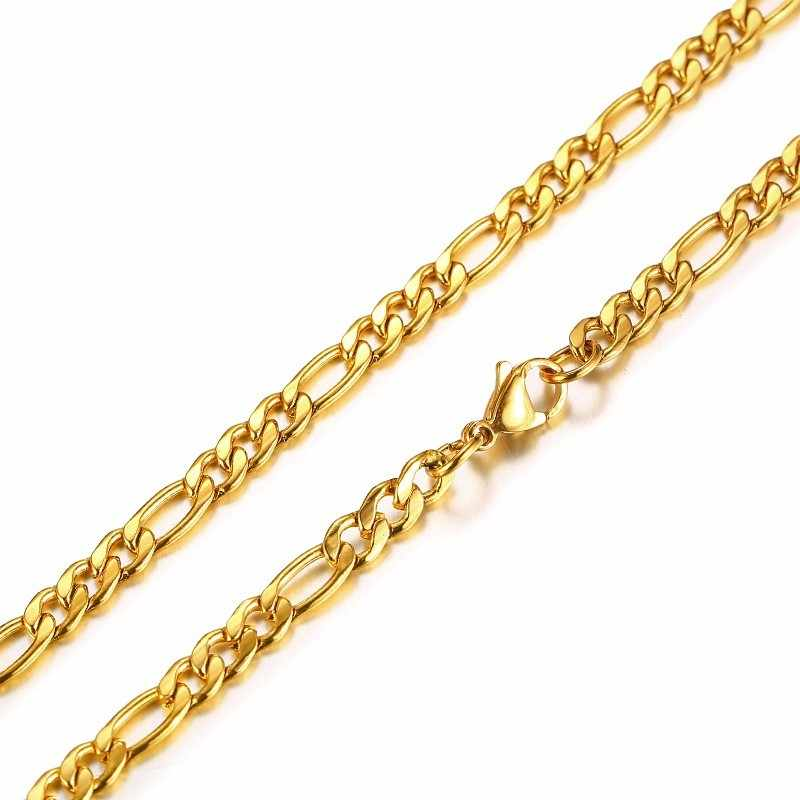 Męski łańcuch figaro Curb naszyjnik z ogniwami stal nierdzewna złoty Tone biżuteria męska 24 cale