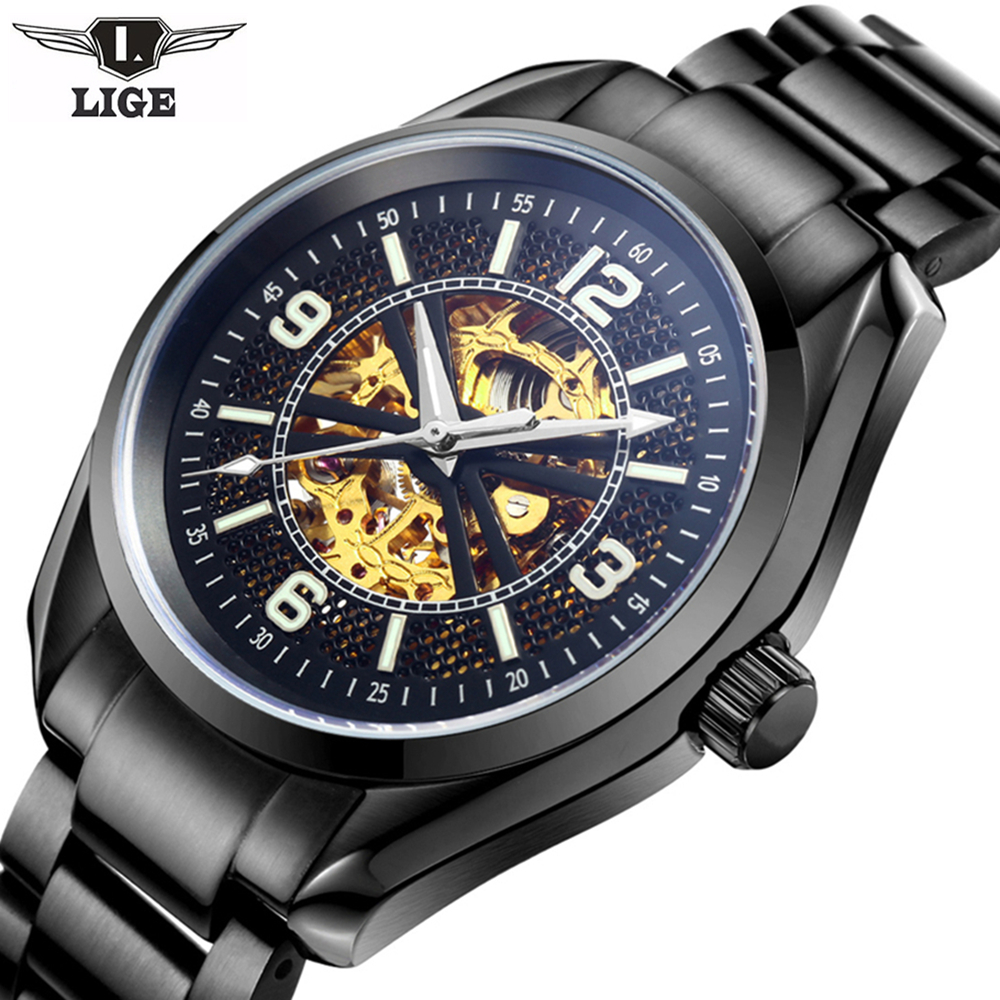 High Quality LIGE Tourbillon Men Watches Top Brand Luxury Sapphire Waterproof Watches Men Automatic Mechanical Wrist Watches