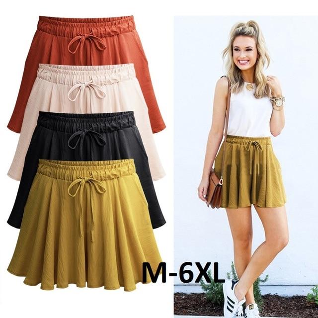 Women Shorts Summer Chiffon Casual Shorts Female Wide Leg Elastic High Waist Shorts Wide Leg Large Size Jupe Femme Plus Size2007 1