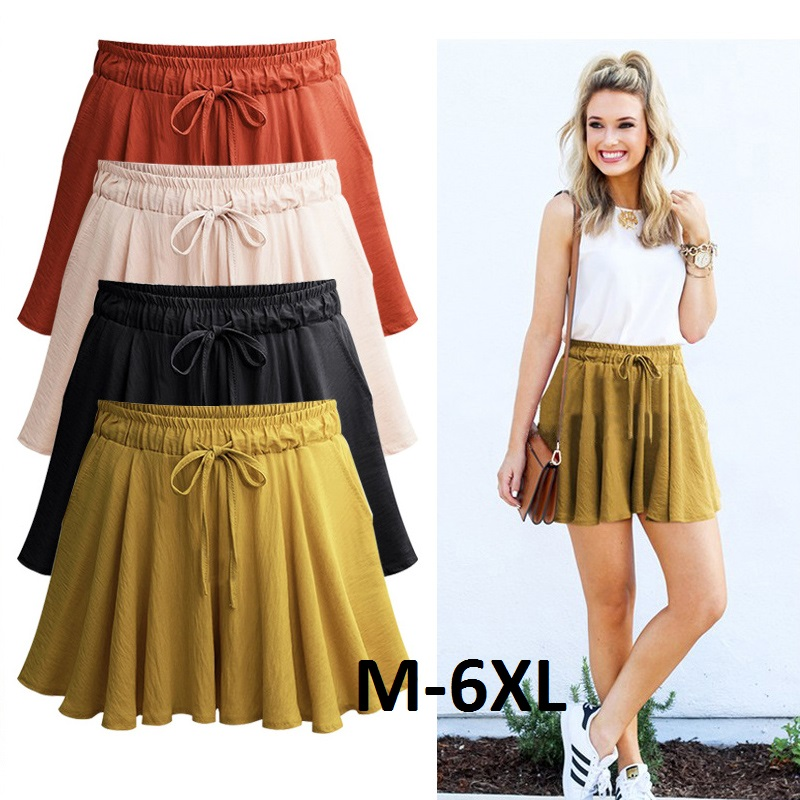 Women   Shorts   Summer Chiffon Casual   Shorts   Female Wide Leg Elastic High Waist   Shorts   Wide Leg Large Size Jupe Femme Plus Size2007
