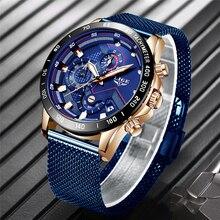 New LIGE 2019 Blue Casual Mesh Belt Fashion Quartz Gold Watch Mens Watches Top Brand Luxury Waterproof Clock Relogio Masculino
