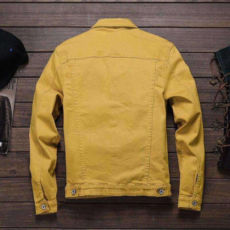 Мужская джинсовая куртка, облегающая, в стиле хип-хоп, цвета: красный, белый, черный, желтый, армейский зеленый, на весну-осень 2019