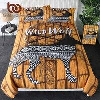 BeddingOutlet Wild Wolf Bedding Set Dreamcatcher Duvet Cover Aztec 3 Piece Bedspreads Wood Brown Striped Bed Cover Set Queen