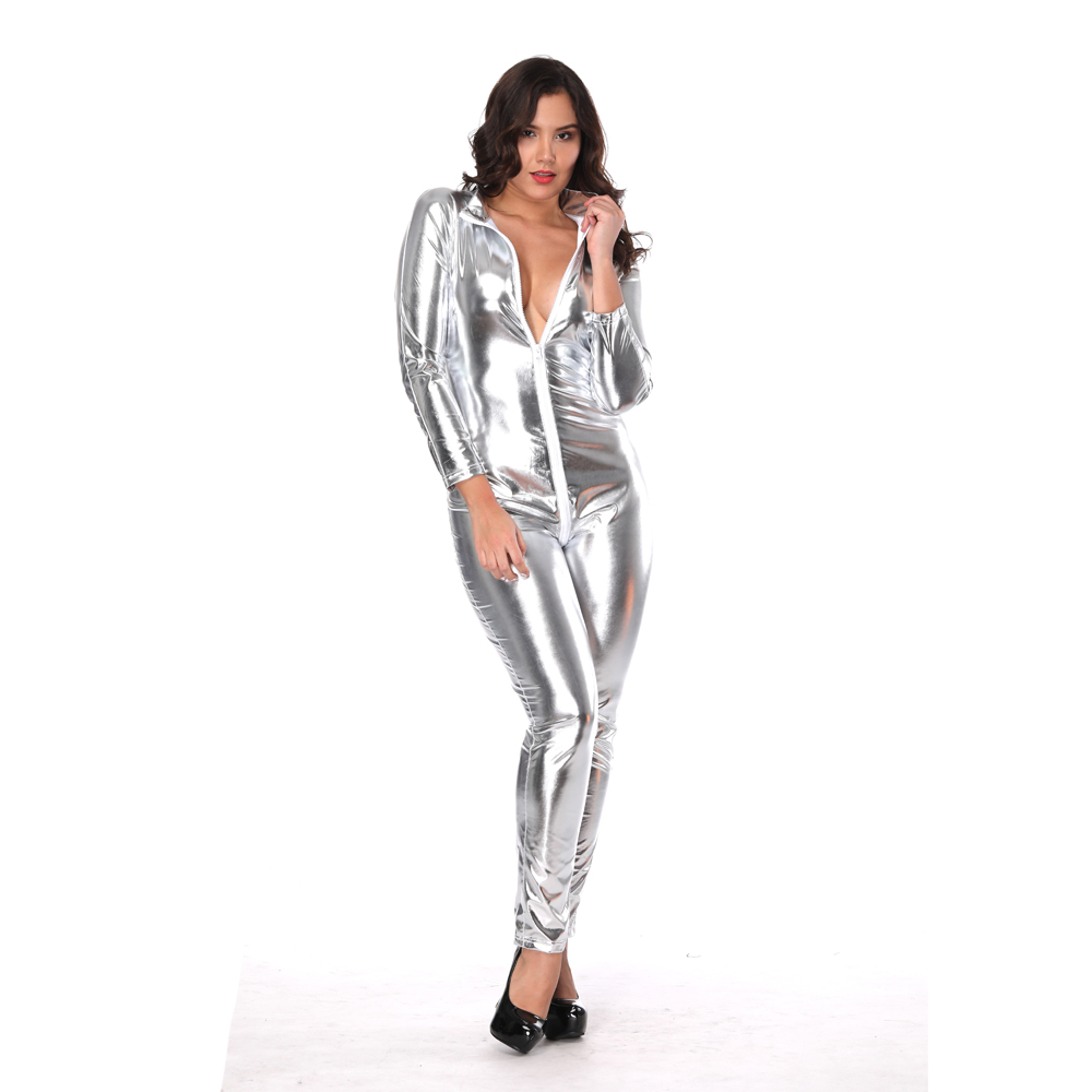 2018 Hot high quality Polished leather women bodysuit top XS-6XL plus size catsuit lingerie zipper clubwear costume with open cr