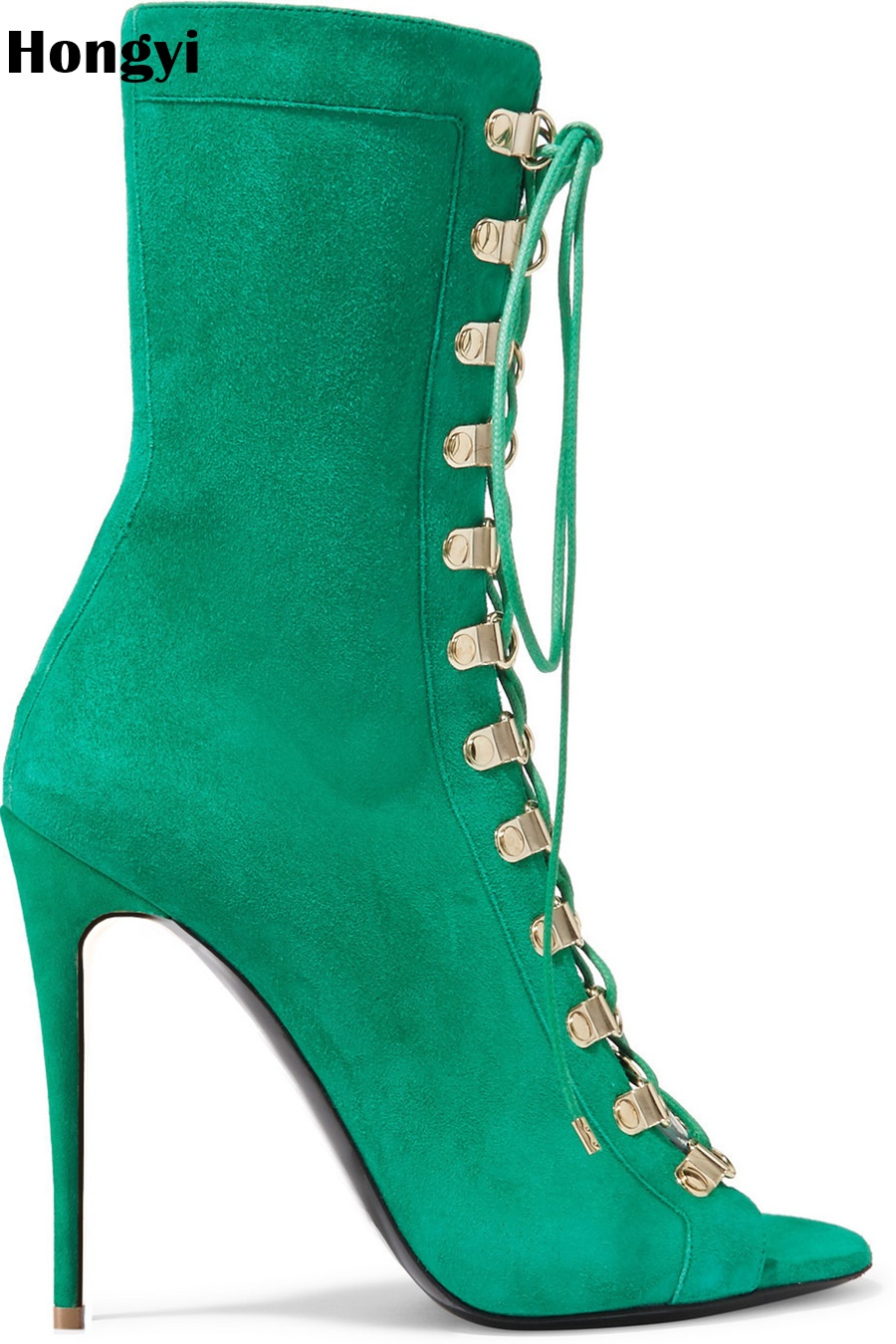Hongyi New Design Women Suede Lace Up Boots Green Black Open Toe High Heels Shoes Spring Autumn Woman Ankle Boots Size front lace up casual ankle boots autumn vintage brown new booties flat genuine leather suede shoes round toe fall female fashion
