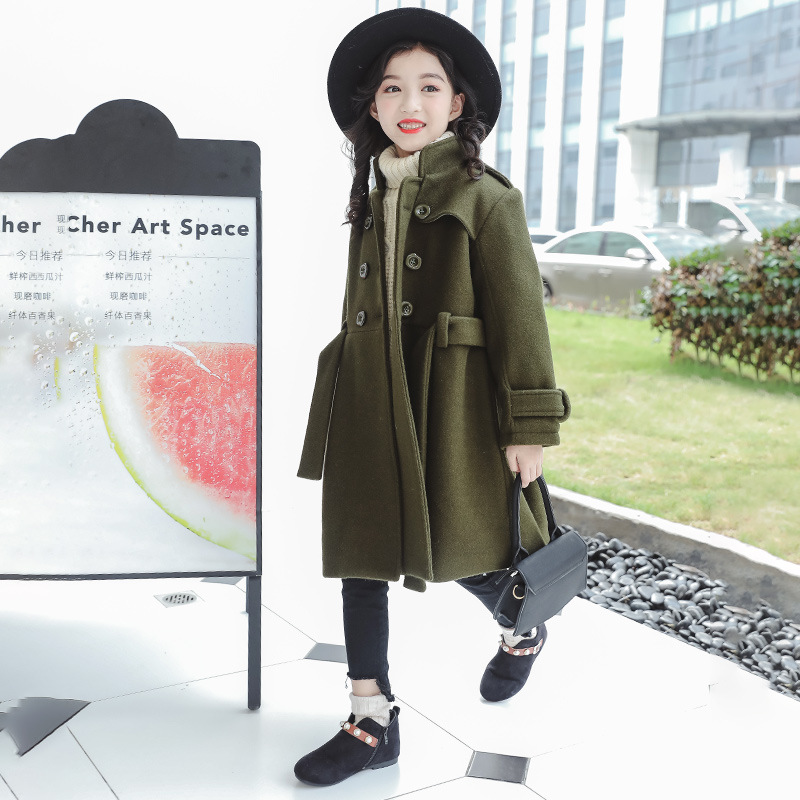 girls autumn winter Woolen Coat 2018 New fashion Children's Thickened Woollen Waist Coat with belt warm jackets 8 9 10 11 12 13 fashion red longline coat with belt