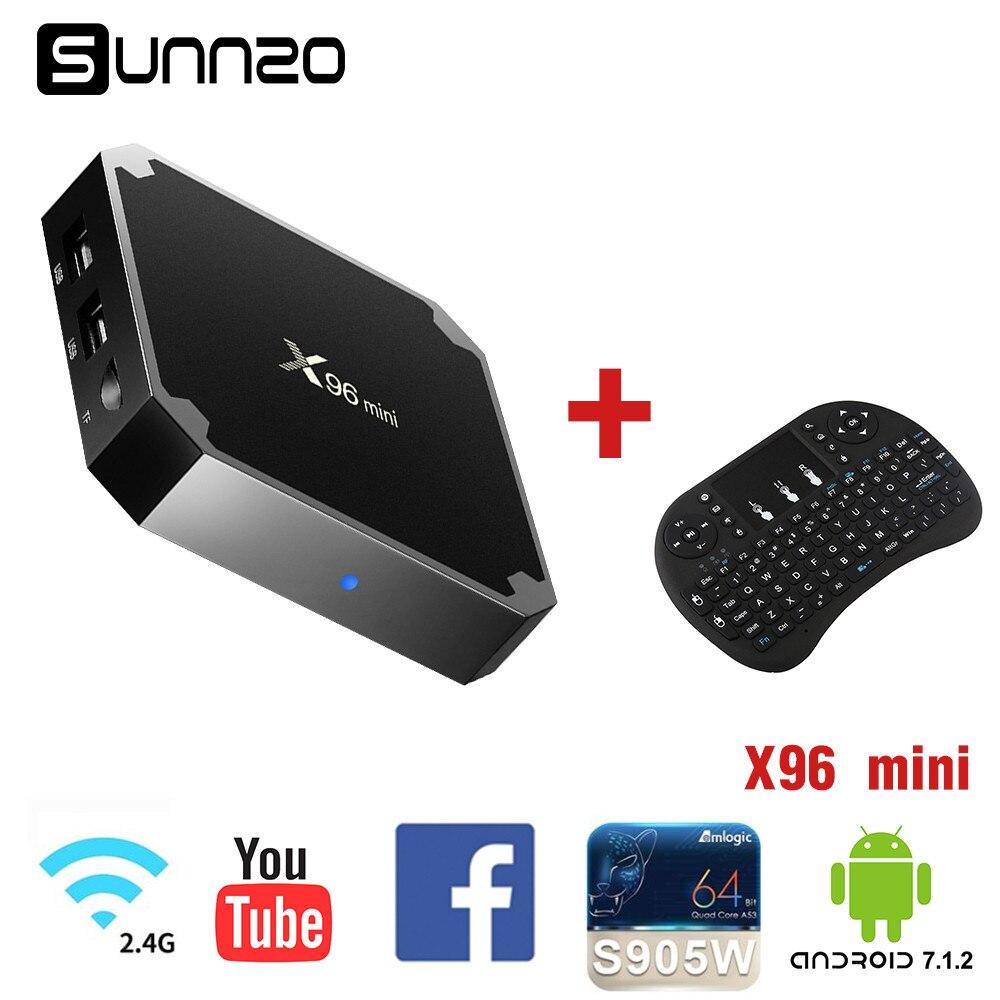 2018 New Smart TV Box X96 mini Android 7.1 TV BOX 2GB 16GB Amlogic S905W Quad Core 2.4GHz WiFi Media Player+Wireless Keyboard minix neo x6 quad core android 4 4 2 tv player mini keyboard white russian eu plug