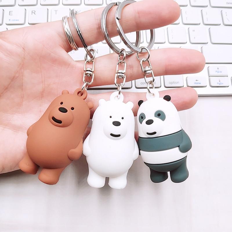 Cartoon Anime We Bare Bears Cute Three Animal Bears Doll Keychains Women Car Bag Pendant Belt Trinkets Key Chains Porte Clef