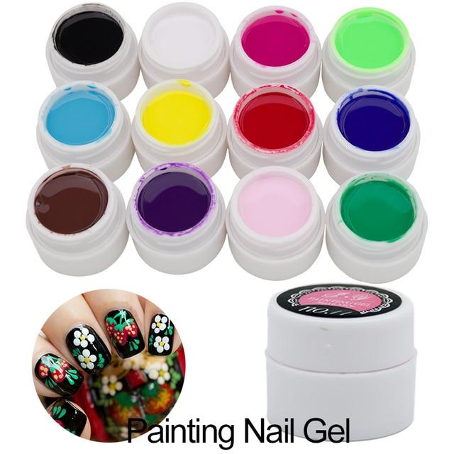 12 Colour Bio Gel Nail Art Glue 3d Sculpture Carved Glitter Painting Soak Off Uv