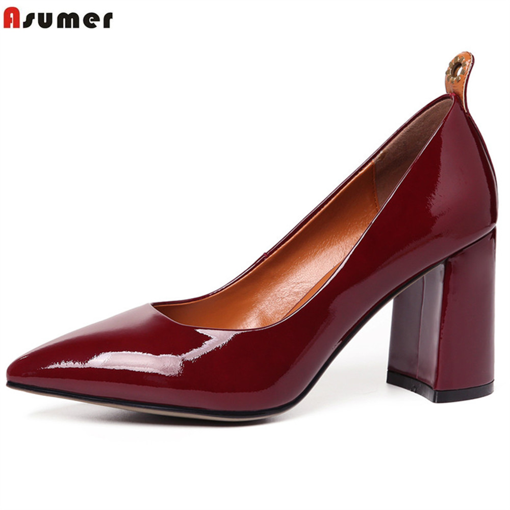 ASUMER wine red fashion pointed toe shallow ladies pumps elegant dress sheos thick heel women genuine leather high heels shoes plus size 34 46 fashion high heels shoes women pumps square heel pointed toe dress pumps shallow party stilettos ladies footwear