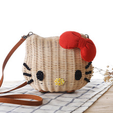 4564e50b67 Hello Kitty Women Handmade Straw Beach Bag Girls Cartoon Fabric Shoulder Bag  Rattan Knitted Circular Handbag