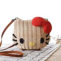Hello Kitty Women Handmade Straw Beach Bag Girls Cartoon Fabric Shoulder Bag Rattan Knitted Circular Handbag Tote