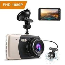 4.0 Polegada câmera dupla do carro dvr da lente 170 graus gravador de condução automático g sensor 1080p traço cam com câmera de visão traseira