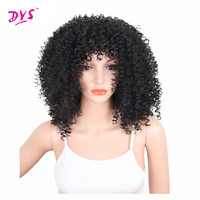 Deyngs Afro Rizado Rizado a prueba de Calor Sintética Pelucas Cortas Para Las Mujeres Negro Natural Peinado Rubio Marrón Negro Color Disponible
