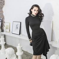 24e4317eca52d8 Le Palais Vintage 2018FW Classic Draped Black Dress Elegant Turtleneck Slim  High Rise 50s Retro Matte
