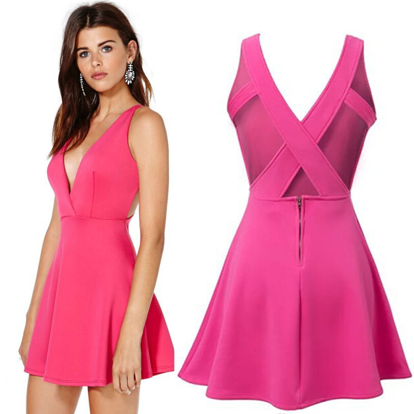 0622a3ec01 vintage american apparel sexy club women casual dress 2015 summer new  hollow cross Backless V neck pink mini party dresses uk-in Dresses from  Women s ...