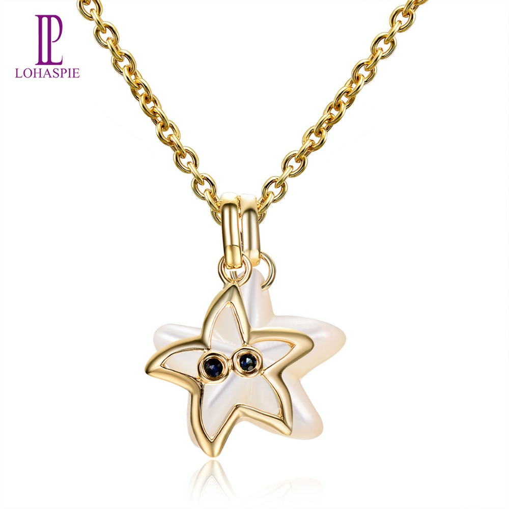 Lohaspie Ocean Party Natural Sapphire Pendant Solid 9k Yellow Gold Mother of Pearl Starfish Fine Fashion Stone Pearl Jewelry New lohaspie ocean party natural sapphire pendant solid 9k yellow gold mother of pearl starfish fine fashion stone pearl jewelry new