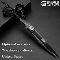 7 inch professional hairdresser cut black dragon handle hairdressing scissors styling tool cutting scissors overseas warehouse