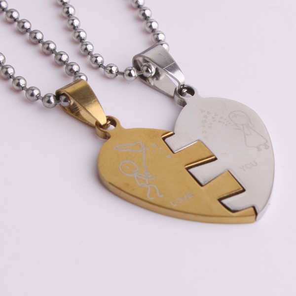 free shipping Gold color Lovers In half heart pendant necklaces bead chain for men women 316L Stainless Steel necklace wholesale