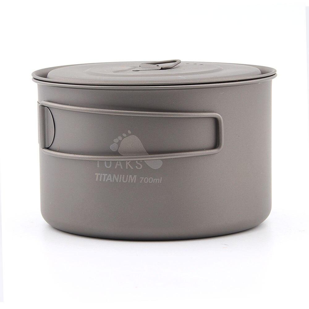TOAKS POT-700-D115-L ultra-léger Camping en plein air Pot en titane 0.3mm épaisseur tasse en titane avec couvercle 700 ml