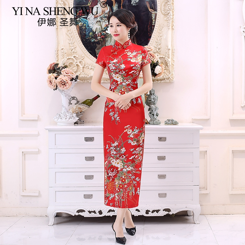 CHinese New Improve Cheongsam Silk Satin Dress Daily Banquet Cheongsam Women Evening Performance Clothing Bride Wedding Dress