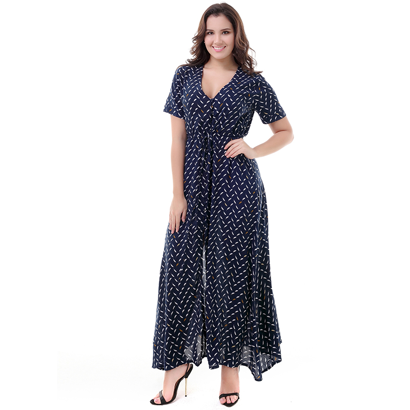2018 Women Casual Women Summer Dress V Neck Short Sleeve Streetwear Long Maxi Beach Dress Plus Size 6XL Vestidos casuales mujer
