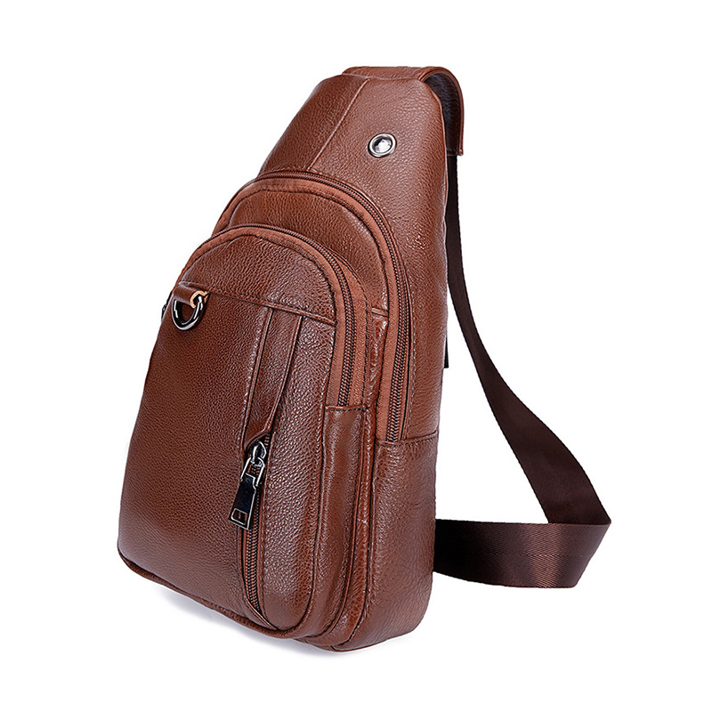 Korean Men Messenger Bags High Quality Genuine Leather Chest Bag for Teenage Boy Vintage Business Shoulder Bag Handbag Small Bag