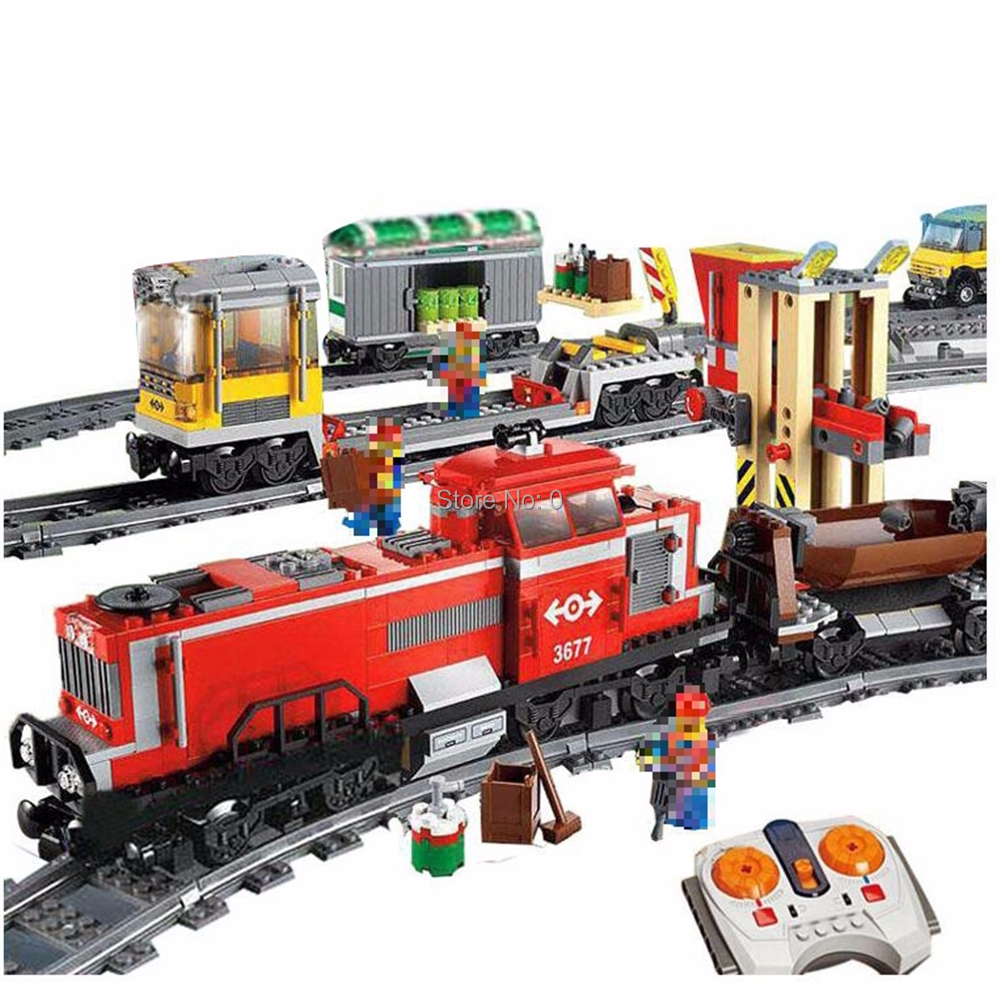 898pcs red cargo train city remote control rc electric building block 3677 Bricks Toy