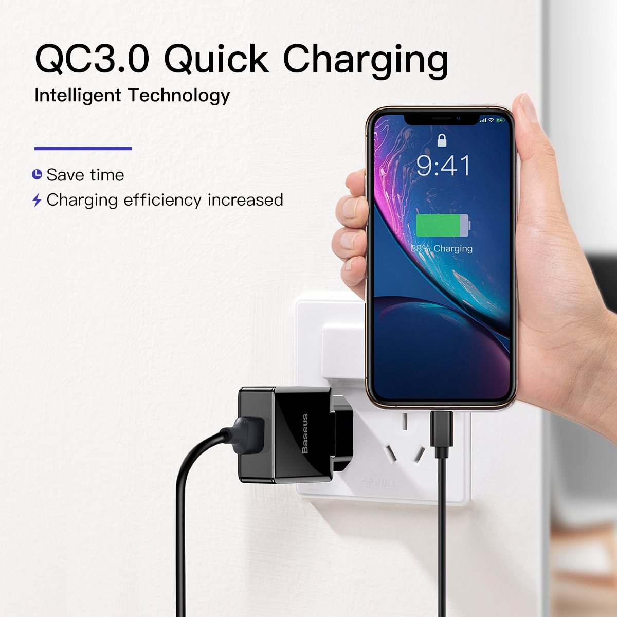 Image 2 - Baseus Quick Charge 3.0 2.0 USB Charger For iPhone Xiaomi Samsung Huawei QC3.0 QC Fast Charing Turbo Wall Mobile Phone Charger-in Mobile Phone Chargers from Cellphones & Telecommunications
