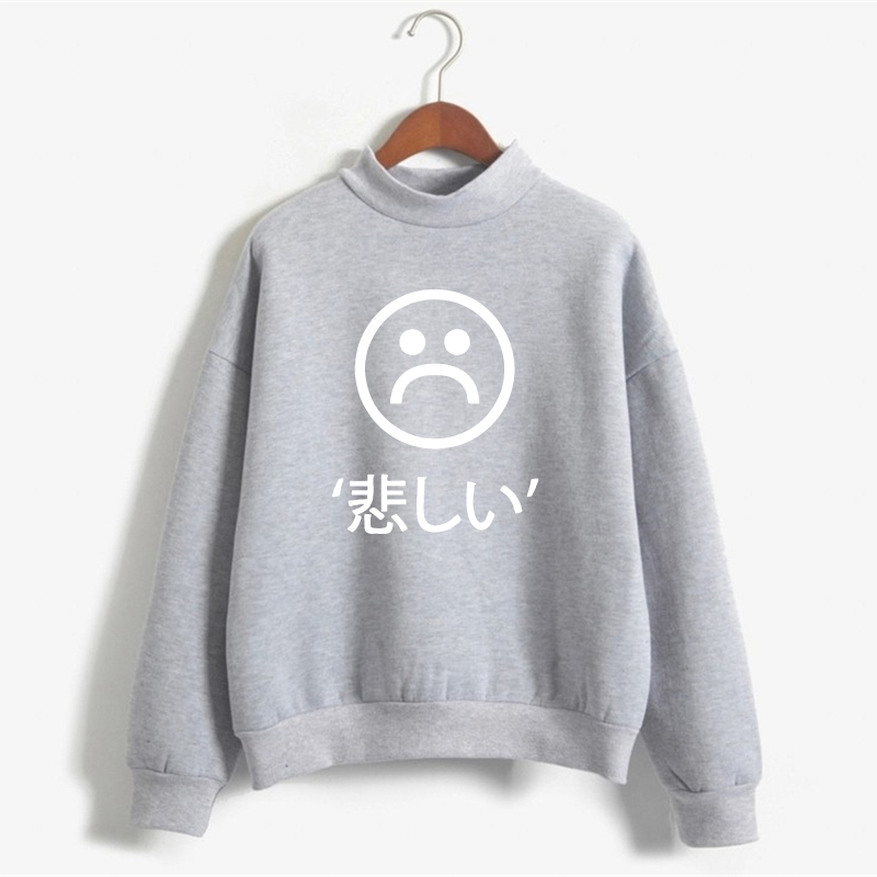 Japanese Letter Sweatshirt Women Plus Size Emoji Print Tracksuit Hoodie Winter Long Sleeve Fleece Pullover Hoodeis NSW-12011