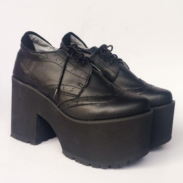 Dulce Zapatos Mollete Artefacto Japonés Punk Personalizado Princesa Suela De An7019 Harajuku Moda Mujer Negro Cuero Y Gruesa RTEdqxwEp