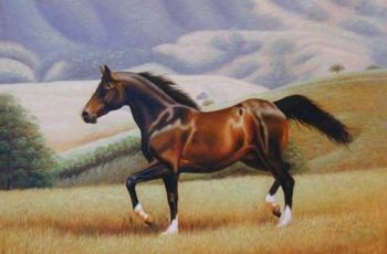 """HIGH QUALITY HAND PAINTED ANIMAL OIL PAINTING ON CANVAS : """"HORSE"""" 24""""X36"""""""