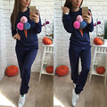 High quality 2016 autumn winter tracksuit Plush Ball Sweatshirt and Pants 2 two piece set women chandal mujer completo