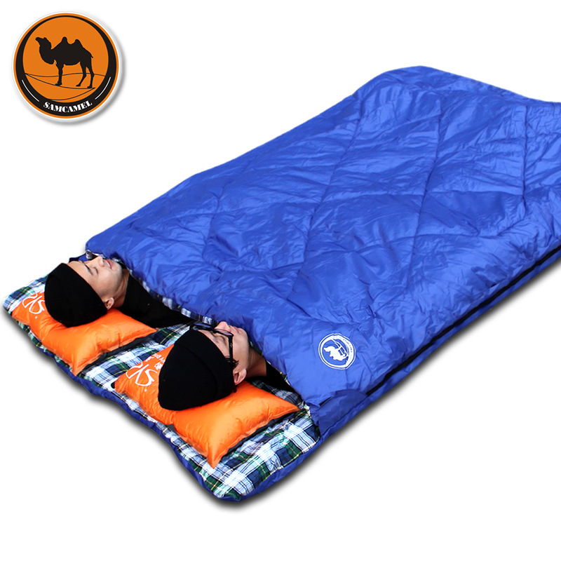Adult outdoor camping sleeping bag envelope pattern couple lover travel warm weather use can split into two sleeping bags couple double sleeping bag with pillows lightweight outdoor camping tour portable adult lover warm sleeping bag for 3 seasons