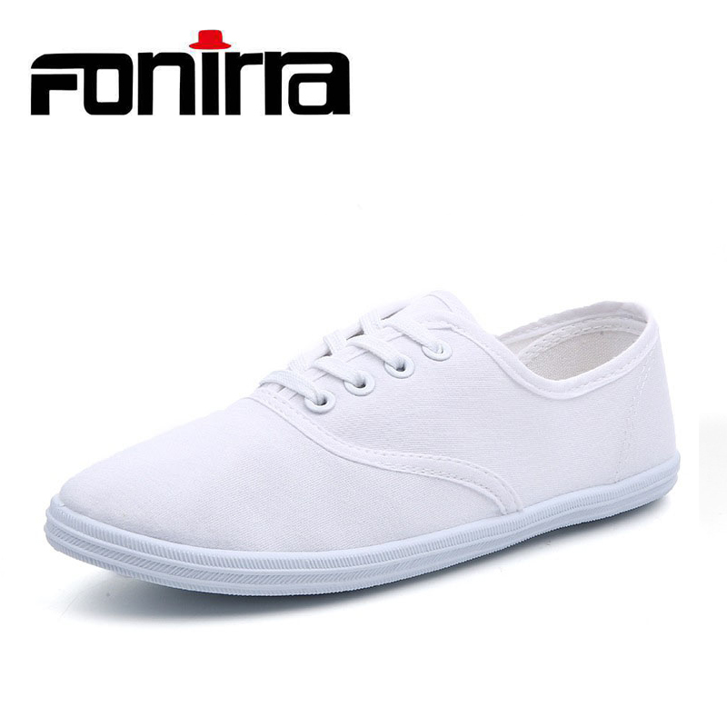 FONIRRA Women Canvas White Shoes Spring Autumn Lace-up Light Casual Shoes for Women Student Shoes Plus size 41 42  148 цены онлайн