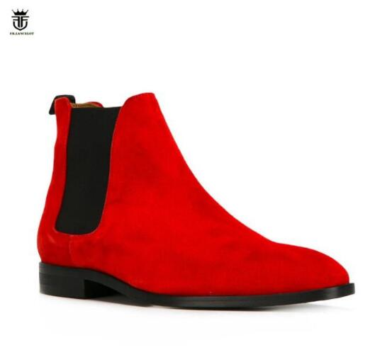 FR LANCELOT 2019 Luxury Brand suede leather boots British style men red color boots slip on