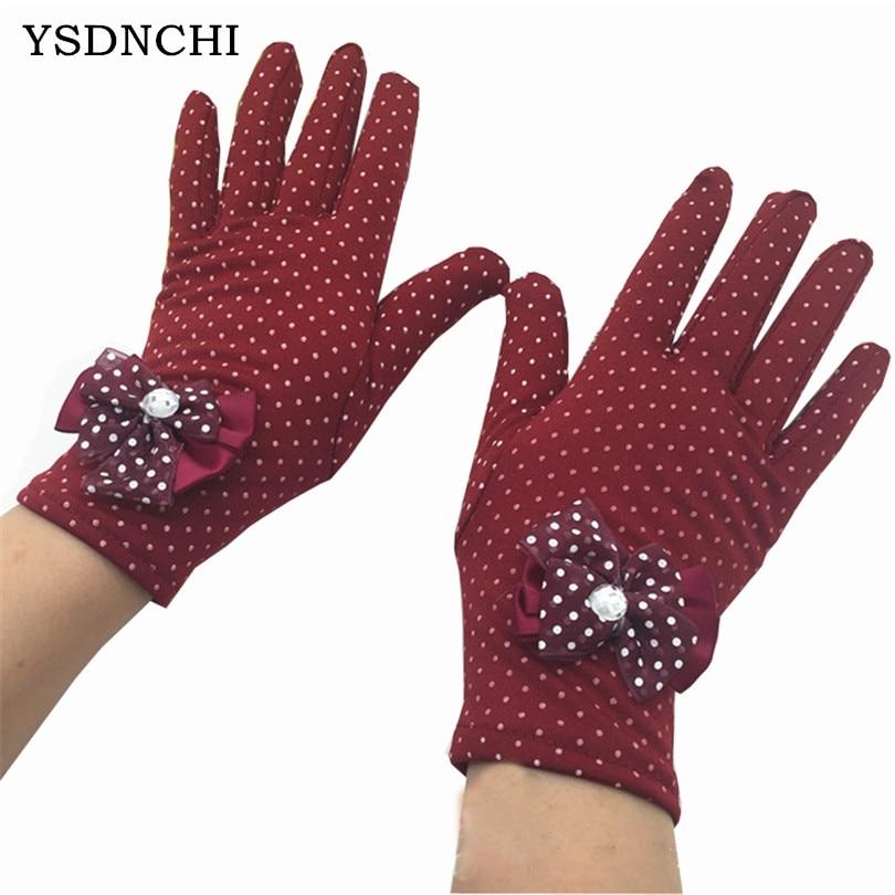YSDNCHI Fashion Winter Ladies Butterfly Women Knot Gloves Warm Dot Gants Diamond Heated Glove New Female Wrist Length Mittens