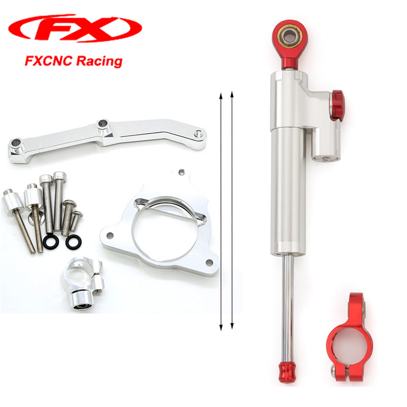 FXCNC Silver Motorcycle Steering Stabilizer Damper with Kits Mounted Brackets for Kawasaki Z800 2015 2014 2013 Z-800