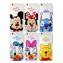 Funny Cute Cartoon Soft TPU Case For Apple iPhone 7 7plus 6 6s plus 5 5S SE Minnie Mickey Mouse Stitch Duck Cover Coque cases