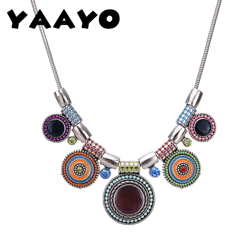 YAAYOO Women Ethnic Bohemia Vintage Metal Enamel Statement Multicolor Necklaces Pendants Jewelry Colar For Gift Party NL372