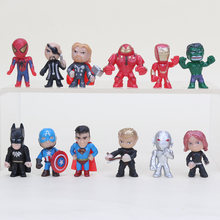 12pcs/lot The Avengers Spiderman hulk Captain America superman batman Thor Black Widow PVC Figure model Kids Toys(China)
