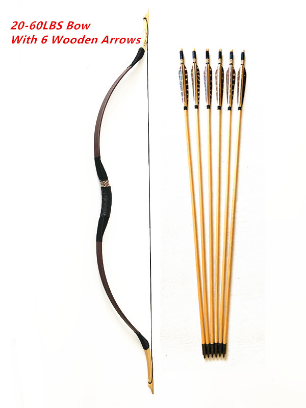 Traditional Bow With 6PCS Wooden Arrows Hungarian Style 20 60 Lbs Archery Handmade Hunting Longbow