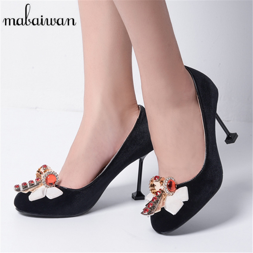 ФОТО Runway Style Black Women Pumps Fashion Rhinestone Decor High Heels Crystal Velvet Wedding Dress Shoes Woman Chaussure Femme